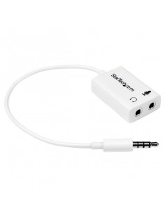 StarTech.com White headset adapter for headsets with separate headphone   microphone plugs - 3.5mm 4 position to 2x 3 position