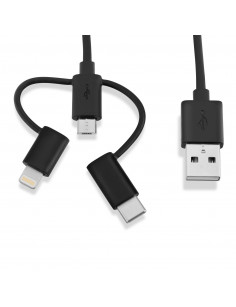 V7 Black USB Cable USB 2.0 A Male to Micro USB Male, Lightning Male, USB-C Male 1m 3.3ft