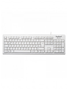 V7 KU200GS-WHT-DE Wired Keyboard, White German QWERTZ Layout, TUV-GS