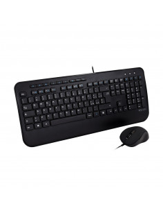 V7 Full Size USB Keyboard with Palm Rest and Ambidextrous Mouse Combo - IT