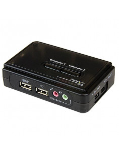 StarTech.com 2 Port Black USB KVM Switch Kit with Audio and Cables