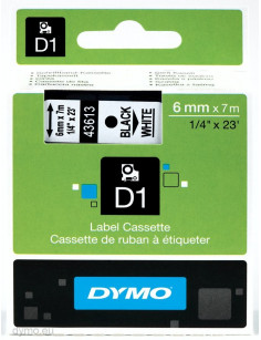 DYMO D1 Standard - Black on White - 6mm