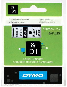 DYMO D1 Standard - Black on White - 19mm