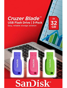 SanDisk Cruzer Blade 3x 32GB USB flash drive USB Type-A 2.0 Blue, Green, Pink